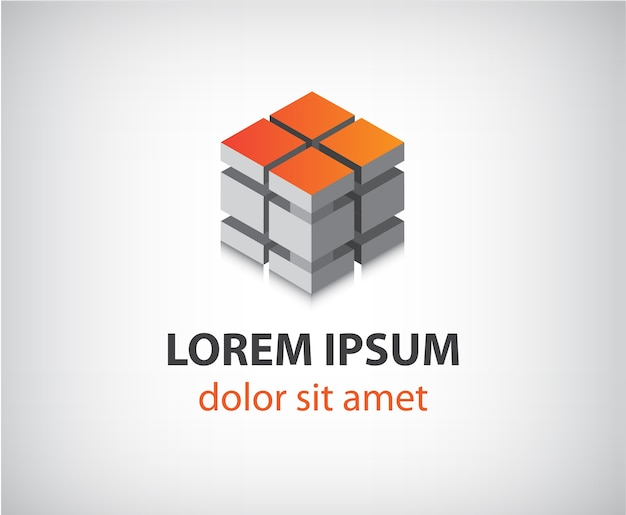 Abstract modern 3d cube construction logo isolated Premium Vector