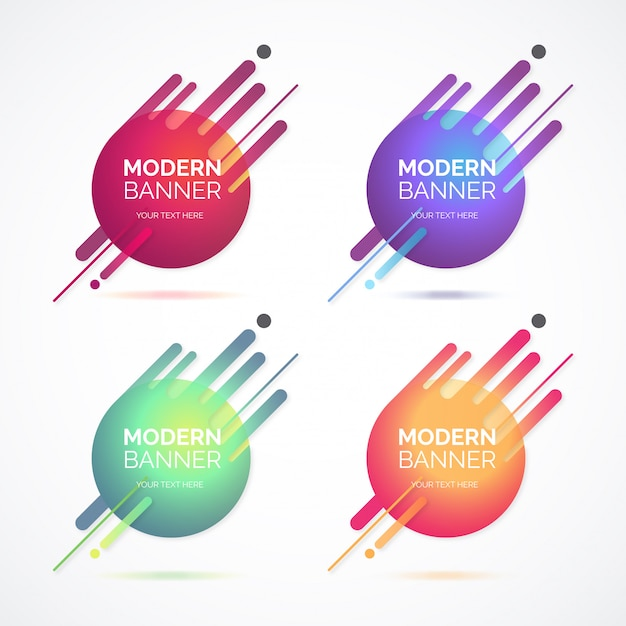 Abstract modern banner collection with colorful shapes Free Vector