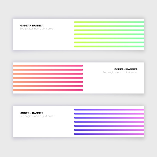 Abstract modern banner collection with lines Free Vector