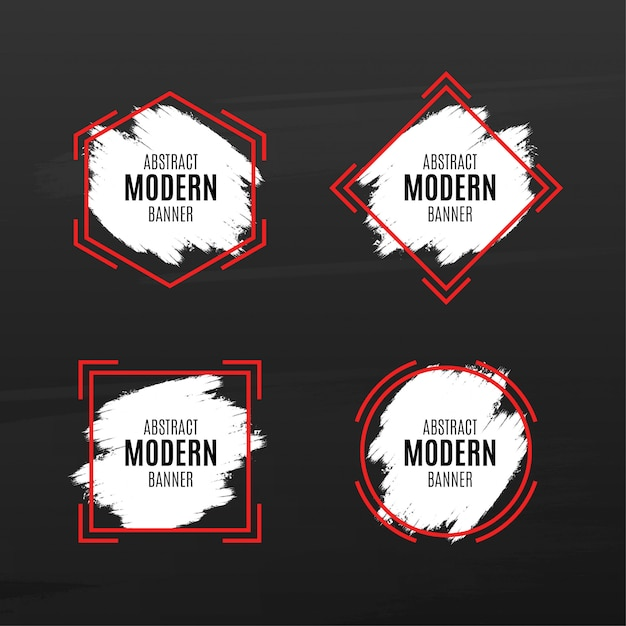 Abstract modern banner pack with splash Free Vector