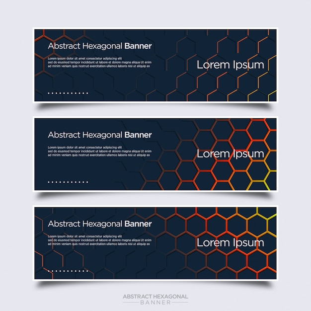 Abstract modern banner with hexagonal shape Premium Vector