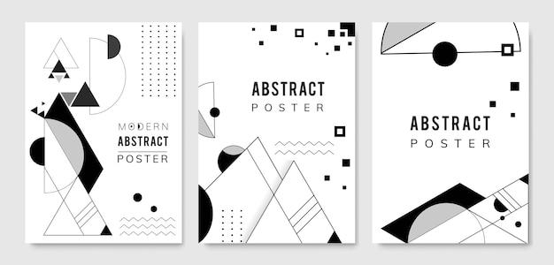 抽象的なモダンな黒と白のテンプレートセット 無料ベクター