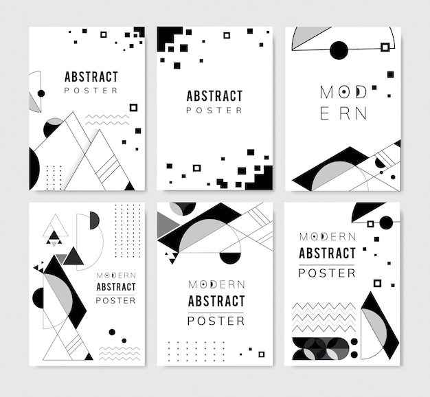Abstract modern black and white backgrounds set Free Vector