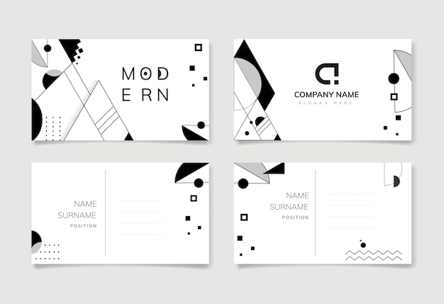 Abstract modern black and white template set Free Vector