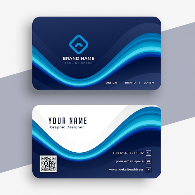 Abstract modern blue business card template Free Vector