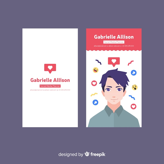 abstract modern business card template with avatar of man vector