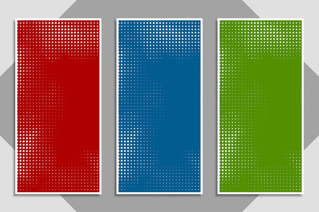 Abstract modern colorful halftone banner set Free Vector