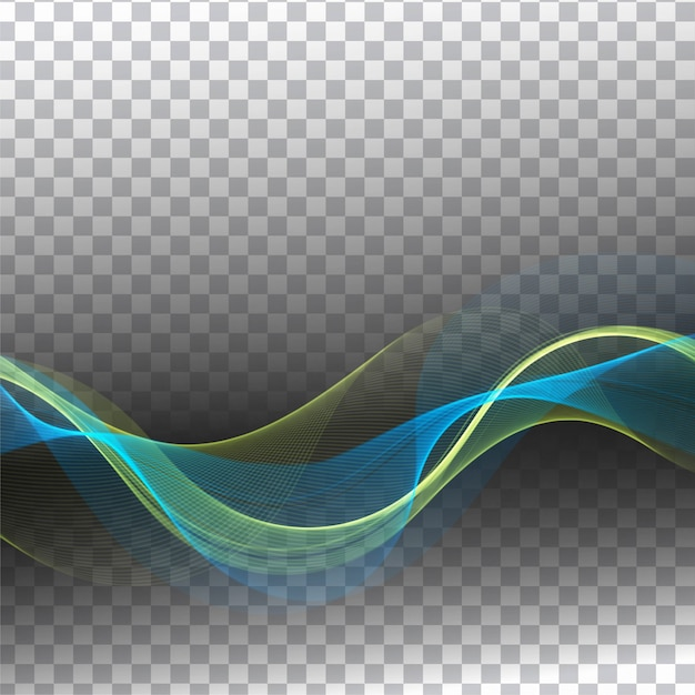Abstract modern colorful wave transparent background Free Vector