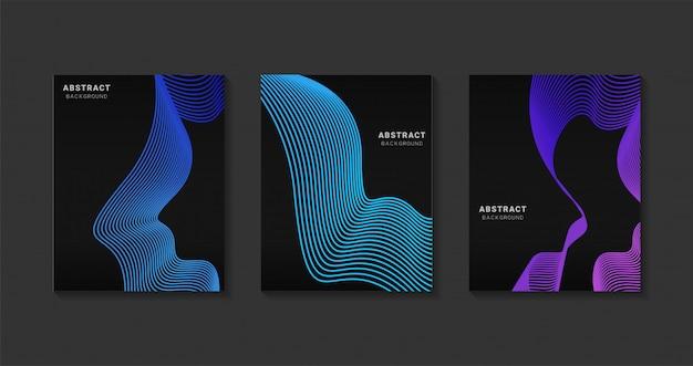 抽象的な現代カバーデザイン。 webの未来的なアートラインgradients.backgroundモダンなテンプレートデザイン。将来の幾何学模様。 Premiumベクター