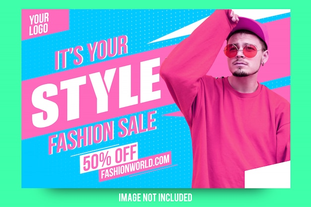 Abstract modern fashion sale banner Premium Vector