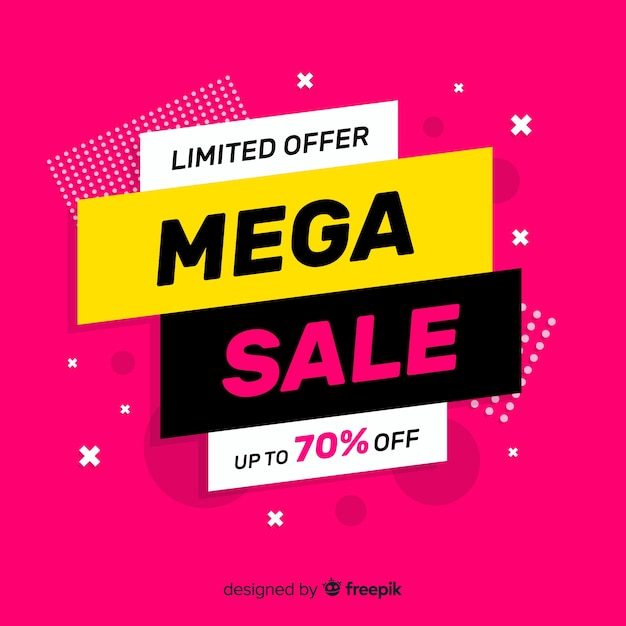 Abstract modern flat sale background Free Vector