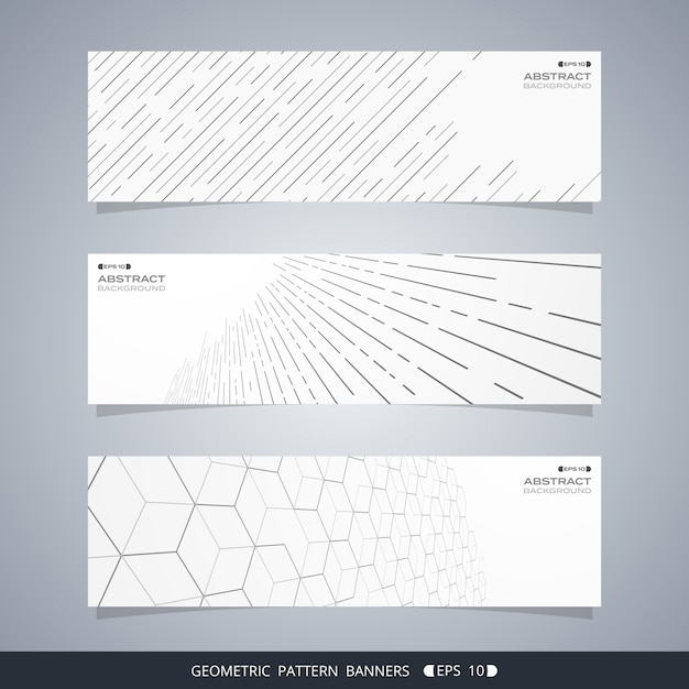 Abstract of modern geometric line banners. Premium Vector