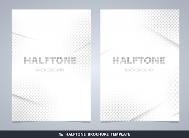 Abstract modern halftone brochure mockup in gray decorating background Premium Vector