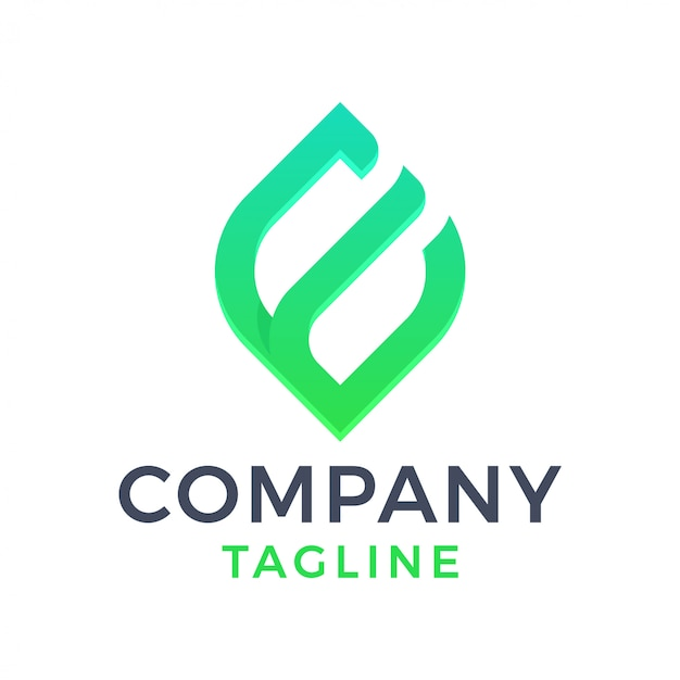 Abstract modern leaf letter e gradient logo Premium Vector