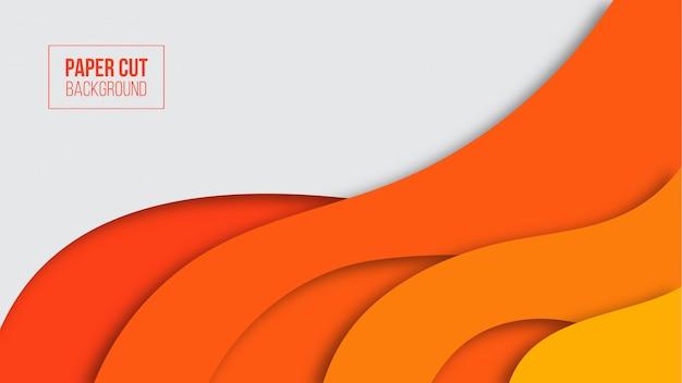 Abstract modern orange paper cut background Premium Vector