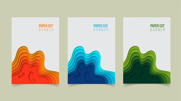 Abstract modern paper cut banner design Premium Vector