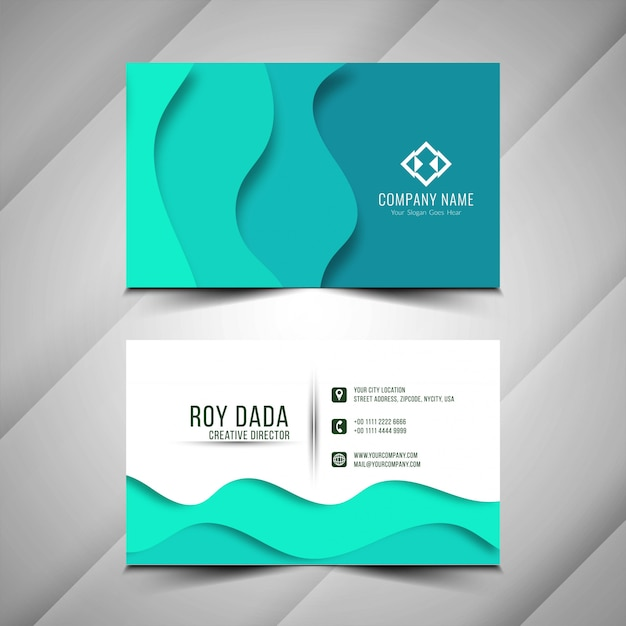 Abstract Modern Paper Cut Business Card Template Vector