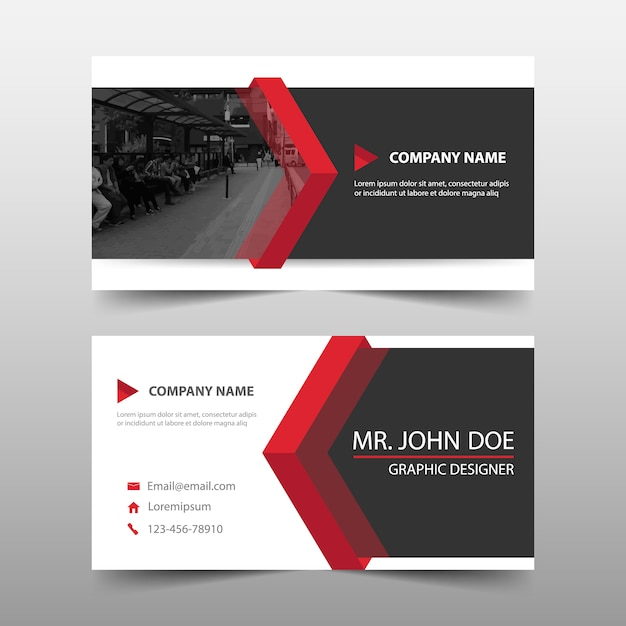 Abstract modern red corporate business card Free Vector