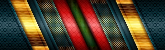 Abstract modern red green design background polygonal with golden line Premium Vector