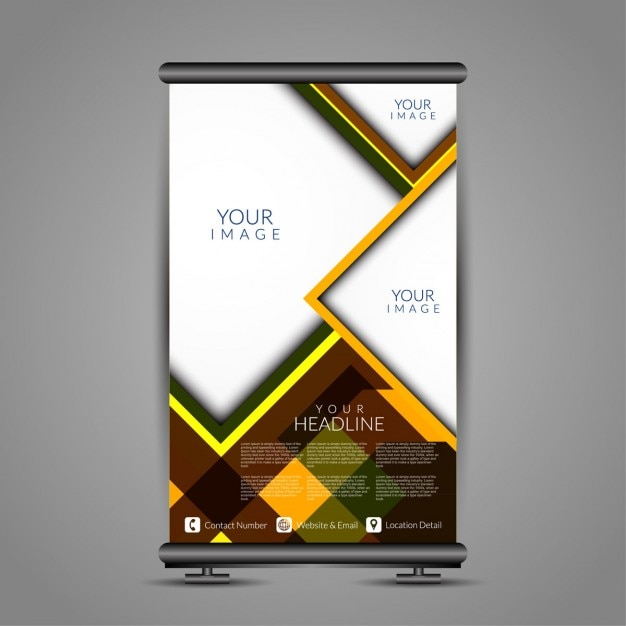 abstract modern roll up banner stand template vector free download