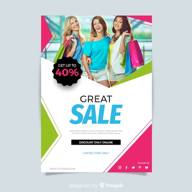 Abstract modern sale flyer template Free Vector