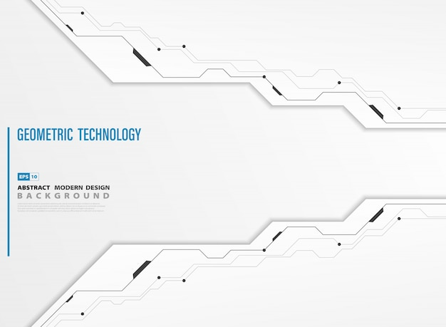 Abstract modern technology white template background of Premium Vector