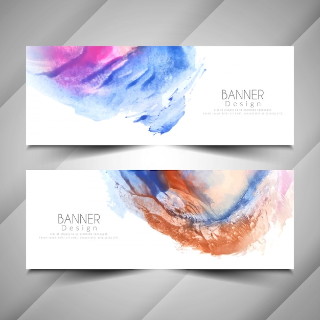 Abstract modern watercolor style banners design set Free Vector