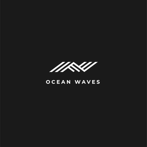 ネガティブスペースと抽象的なモダンな波のロゴ Premiumベクター