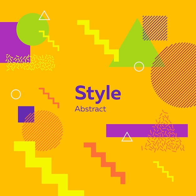 Abstract modern yellow with geometric figures Free Vector