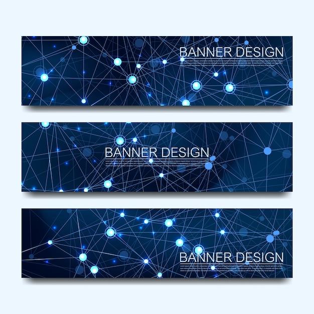 線、点、円、多角形で設定された抽象的な分子バナーデザインネットワーク通信バナー。 webバナーの未来のデジタル科学技術のコンセプト Premiumベクター
