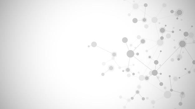 부드러운 회색 배경에 추상 분자입니다. 분자 구조 또는 Dna 가닥, 신경망, 유전 공학. 과학 및 기술 개념. 프리미엄 벡터
