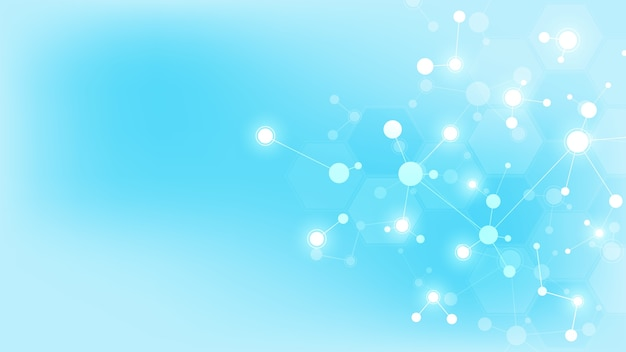 Abstract molecules on soft blue background. molecular structures or dna strand, neural network, genetic engineering. scientific and technological concept. Premium Vector
