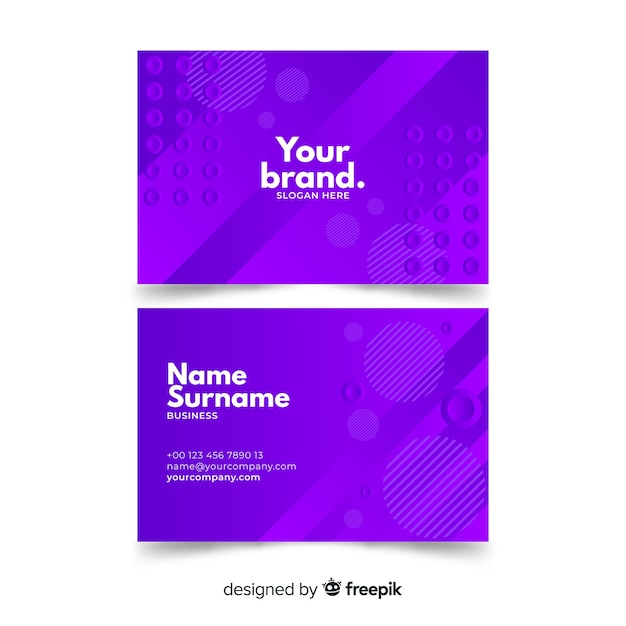 Abstract monochromatic business card template pack Free Vector