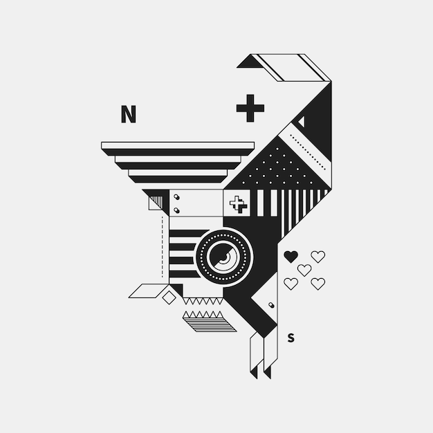 Abstract monochrome creature on white background style of cubism and constructivism useful for prints