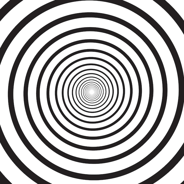 Abstract monochrome psychedelic square background with circular swirl, helix or vortex. backdrop with round optical illusion or radial twist. modern illustration in black and white colors. Premium Vector