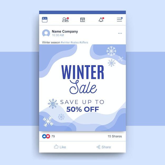 Post di facebook inverno monocolore astratto Vettore gratuito