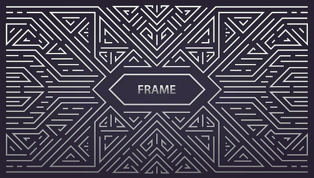 抽象モノグラム幾何学フレーム、ヴィンテージ水平シルバー Premiumベクター