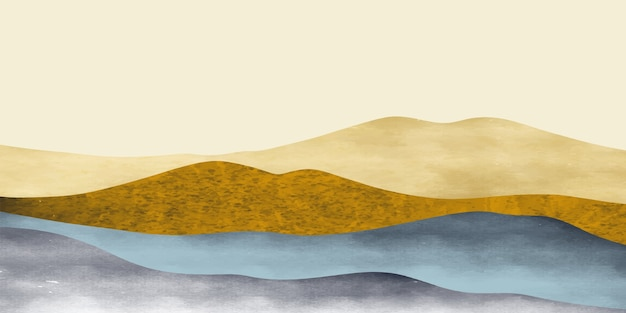 추상 산 풍경, 자연 풍경 배경입니다. 창의적인 미니멀리스트. 프리미엄 벡터