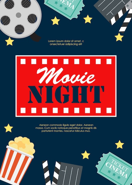 Abstract movie night cinema flat background with reel, old style ticket, big pop corn and clapper symbol icons. Premium Vector