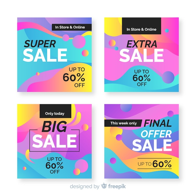 Abstract multicolored sale instagram post collection Free Vector