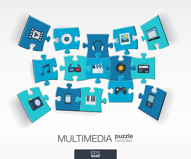 Abstract multimedia background with connected color puzzles, integrated  icons.  infographic concept with technology, digital, music, film, gaming, pieces in perspective.  illustration. Premium Vector