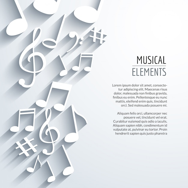 Abstract music background with notes with shadows Premium Vector