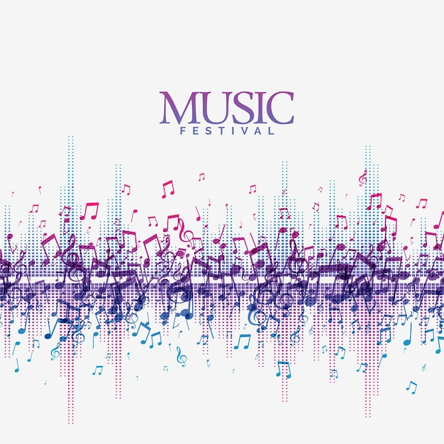 Abstract music background with sound  song beats wave Free Vector