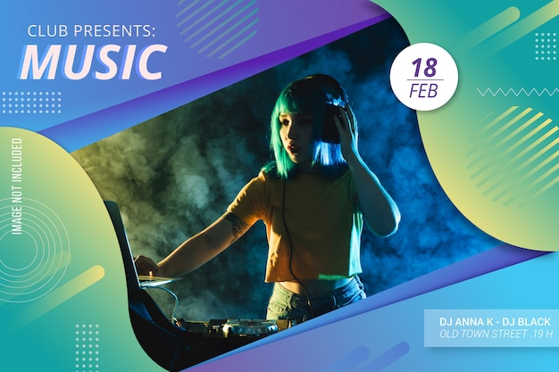 Abstract music festival flyer template Free Vector