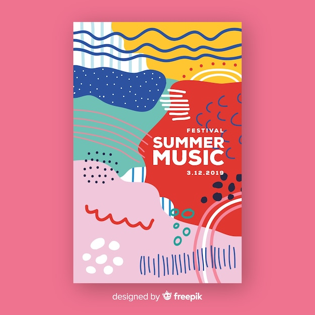 Abstract music festival poster in hand-drawn style Free Vector