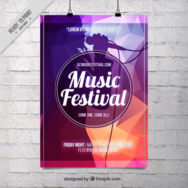 Abstract music festival poster template Vector | Free Download