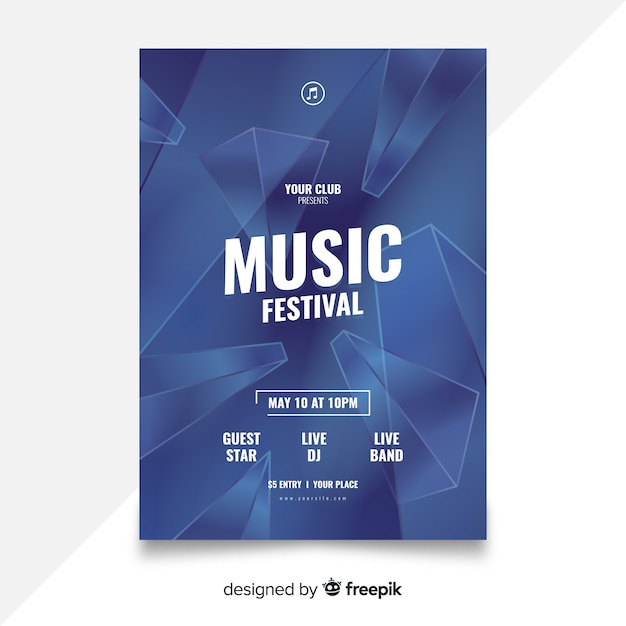 Abstract music festival poster template Free Vector