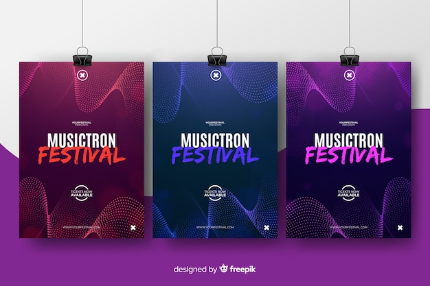 Abstract music festival poster template Premium Vector