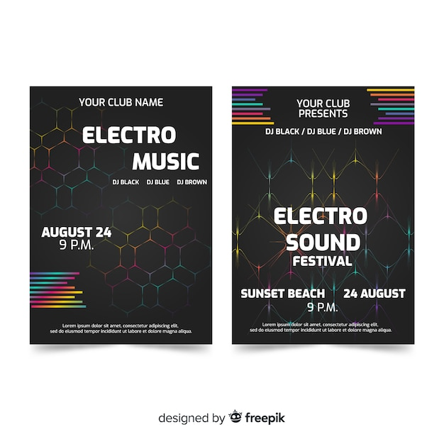 Abstract music festival poster templates Free Vector