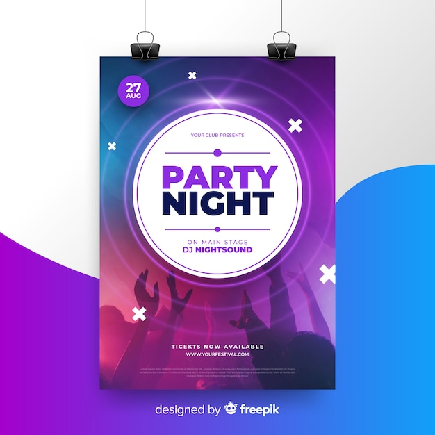 Abstract music festival poster with photo Free Vector